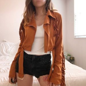 Cropped fringe jacket